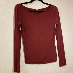 Free People XS burgundy Ribbed thermal top